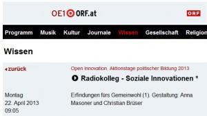 Ö1-Radiokolleg über die Rolle partizipativer Prozesse für erfolgreiche soziale Innovationen
