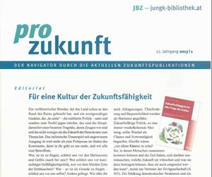 """Unsere Publikation am Cover der internationalen Rezensionszeitschrift """"Pro Zukunft"""""""