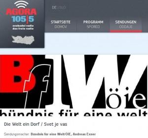 """Interview in radio AGORA Sendung """"Die Welt ein Dorf / Svet je vas"""", Sendungsmacher Andreas Exner"""