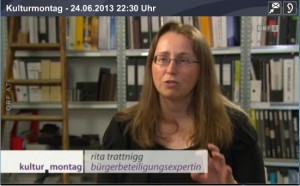 """Rita Trattnigg in der ORF-Sendung """"Kulturmontag"""" zum Thema BürgerInnenbeteiligung"""