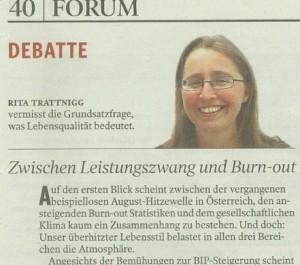 """Kleine Zeitung: """"Debatte"""" über Lebensqualität"""