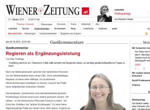 """Artikel zum Thema """"Zukunftsfähiges Regieren"""" in der Wiener Zeitung"""
