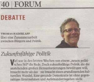 """Kleine Zeitung, """"Zukunftsfähige Politik"""", 5. Februar 2014"""